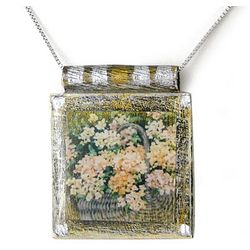 Hydrangea Basket Art Print Necklace
