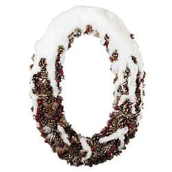 Oval Pinecone Wreath with Snow