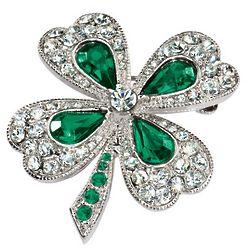 Crystal and Emerald Shamrock Pin