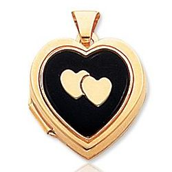 14K Yellow Gold Onyx Cameo Heart Locket