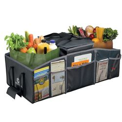 3-Compartment Folding Trunk Organizer with Picnic Cooler Bag
