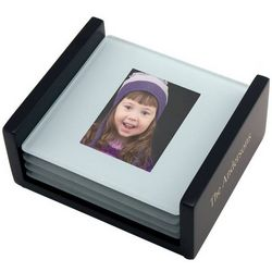 Personalized Glass Coaster Photo Set with Black Wooden Base