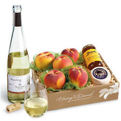 Peaches and Goat Cheese Gift Box with Wine