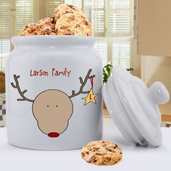 Personalized Reindeer Christmas Cookie Jar
