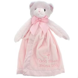Baby's Personalized Pink God Bless You Bear Snuggler