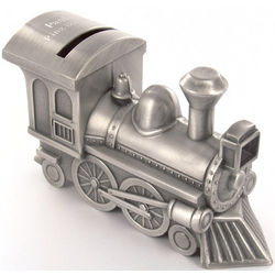 Engraved Pewter Finish Train Bank