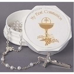 Communion Rosary with Keepsake Box for Girls