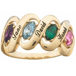 Family Name & Marquise Birthstone Ribbon Ring