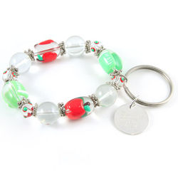Personalized Charm Bracelet Keychain - Apple for the Teacher