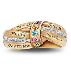 A Mother's Embrace Personalized Gold Plated Birthstone Ring