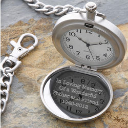 Personalized In Memory Silver Pocket Watch