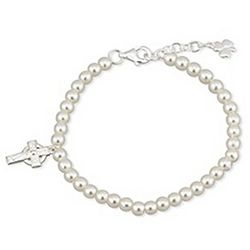 Pearl Bracelet with Silver Cross Charm