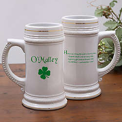 Personalized Irish Four Leaf Clover Ceramic Beer Stein
