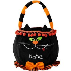 Personalized Cheerful Black Cat Halloween Basket