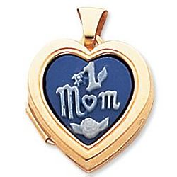 14K Yellow Gold Number 1 Mom Cameo Heart Locket