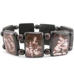 Black Sepia Madonna Bracelet with Wood Beads