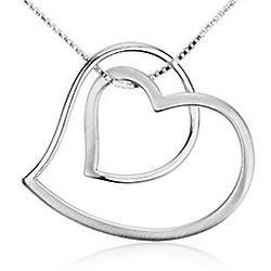 Open Double Heart Pendant in Sterling Silver
