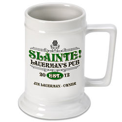 Personalized Slainte Irish Beer Stein