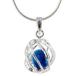 Blue Orb of Energy Howlite and Sterling Silver Pendant Necklace