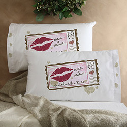 Sealed with a Kiss Personalized Pillowcases