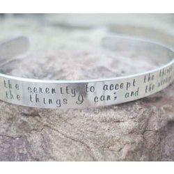 Serenity Prayer Hand Stamped Sterling Silver Cuff Bracelet