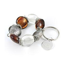 Metallic Elegance Personalized Charm Bracelet Keychain