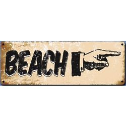 Vintage Pointing Hand Beach Sign