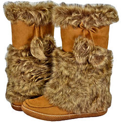 Women's Casual Suede and Faux Camel Fur Boots