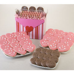 Heart Cookies and Smiley Chocolates Gift Basket