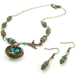 Bird's Nest Necklace and Earrings Set