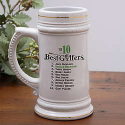 Top 10 Golfers Personalized Beer Stein