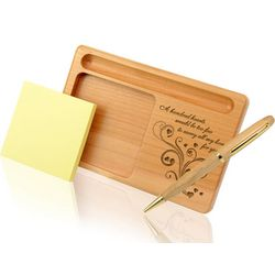 A Hundred Hearts Wooden Notepad & Pen Holder