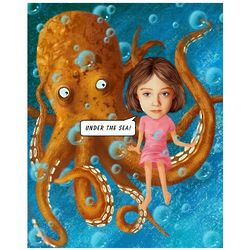 Sitting on the Octopus Caricature Personalized Print