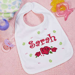 Lovely As A Rose Personalized Baby Bib