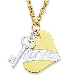 14K Two Tone Heart and Key Pendant Necklace