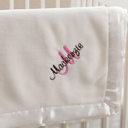 All About Me Ivory Personalized Girl's Baby Blanket