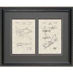 P-38 & P-41 Aircraft Patent Art 16x20 Framed Print