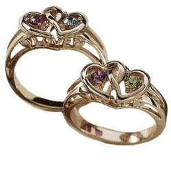 Gold Over Sterling Couple's Birthstone Heart Ring