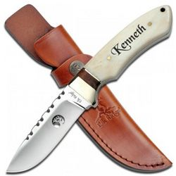 Engravable Fixed Blade Knife with Bone Handle and Leather Sheath