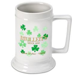Personalized Raining Shamrocks Irish Beer Stein