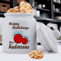Personalized Christmas Bulbs Holiday Cookie Jar