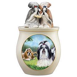 Shih Tzu Art Ceramic Cookie Jar
