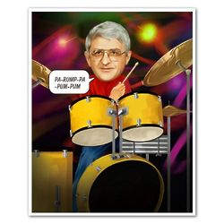 Beating the Drums Custom Caricature Print