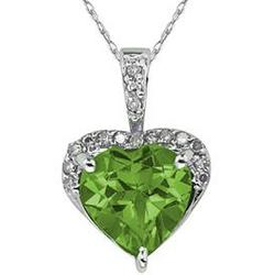 Peridot and Dimaond Heart Pendant in White Gold