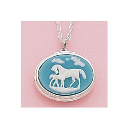 Mare and Foal Cameo Locket Necklace
