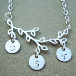 Family Tree Hand Stamped Sterling Silver Necklace