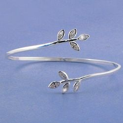 Sterling Silver Leaf Bangle with Clear CZ Stones