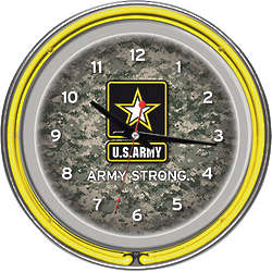 Camo U.S. Army Logo Neon Clock