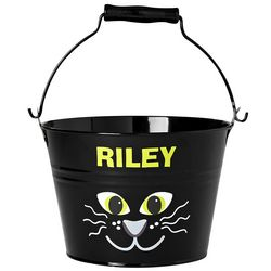 Personalized Metal Black Cat Halloween Pail