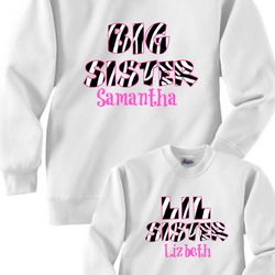 Big Sister Little Sister Zebra Print Sweatshirts